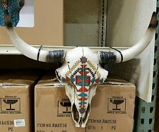 "Western cow skull with Navajo design  20"" × 12"" home decor"