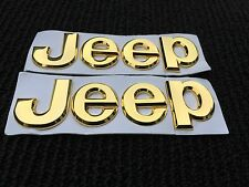 NEW 2PC JEEP GOLD 3M LETTERS HOOD I TRUNK TAILGATE I FENDER EMBLEM BADGE LOGO