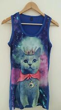 Women's long top cat Nebula galaxy cute kawaii size s/m