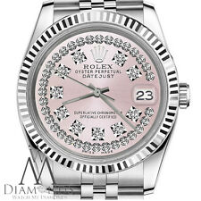 Pink String Diamond Dial Womens Rolex 26mm Datejust Steel Vintage Style Watch