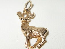 Fabulous vintage 9ct yellow gold solid stag / deer charm - for bracelet