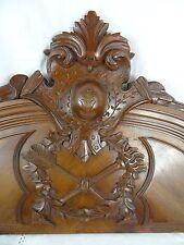 """33"" French Antique Pediment architectural Crown Walnut Wood Crest - Quiver"