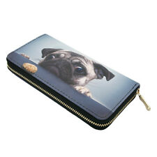 Premium Pug & Treat Cute Puppy Dog Animal Print PU Leather Zip Around Wallet