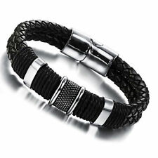Mens Genuine Leather Titanium Steel Wristband Bracelet Bangle Gift Black NEW