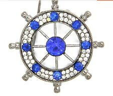 New Royalblue Charm Rhinestone Navy Anchor Rudder Wedding Prom Badge Brooch Pin