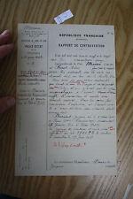 ephemera  WW2 ERA FRENCH POLICE REPORT    c