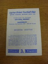 23/09/1964 Leyton Orient v Barnsley [Football League Cup] (4 Pages). Thanks for