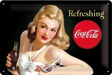 Coca Cola Lady with Glasses Blechschild Schild Blech Metall Tin Sign 20 x 30 cm