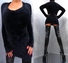 Stretch Warm Soft Sexy Perfect Fit Damen Kleid Pulli J37 Women Dress Black S/M