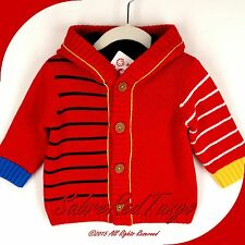 NWT HANNA ANDERSSON JERSEY-LINED CARDIGAN  HOODIE JACKET APPLE RED 50 0-3 M