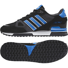 ADIDAS ORIGINALS ZX750 TRAINERS BLACK/BLUE 3 STRIPES MENS UK SIZE 11