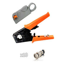 Kit Universal Coax Connector Compression Crimp tool BNC RCA F RG59 RG6 Stripper