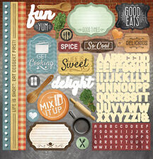 "PAPER HOUSE DELISH COOKING BAKING KITCHEN 12""X12"" CARDSTOCK SCRAPBOOK STICKERS"