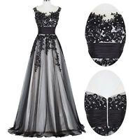 GK~ Long Vintage Lace Tulle Sleeveless Ball Gown EVENING Party Prom Formal Dress