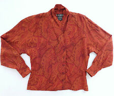 Escada Margaretha Ley silk blouse Paisley pattern 38 UK size 12/14 vintage 1980s