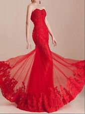 Elegant Red Mermaid Lace Formal Bridesmaid Evening Prom Ball Gown to Floor Dress