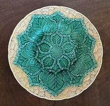 Antique Wedgwood Majolica Pottery Cauliflower Leaf Plate Botanical High Relief