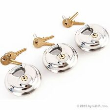 3 Stainless Steel Armor Disc Padlocks Trailer / Self Storage Locks Keyed Alike