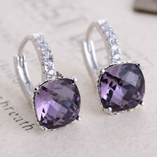 Women Fashion Jewelry Amethyst Crystal 925 Silver Dangle Stud Hoop Earrings New