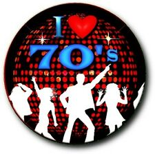 "I LOVE (HEART) 1970'S..1"" / 25 mm RETRO 70'S POP BUTTON BADGE"