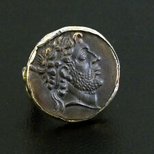 Handmade Hammered Band  Large Roman Coin Ring Yellow Gold over Sterling Silver