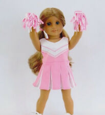 """Fits 18"""" American Girl Doll Pink White Cheer Cheerleader Outfit Set Pom Poms 3pc"""
