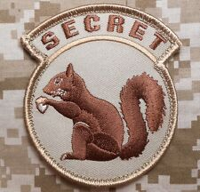 TOP SECRET SQUIRREL BLACK OPS ARMY MORALE DESERT VELCRO® BRAND FASTENER PATCH