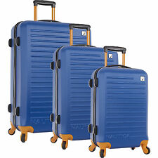 NAUTICA TIDE BEACH HARDSIDE SPINNER 3 PIECE LUGGAGE SET BLUE TANGERINE $1020