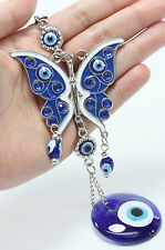 "Blue Evil Eye 2.5"" Butterfly Amulet Protection Wall Hanging Home Decor Gift"