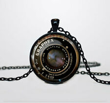 New Camera lens Charm Glass Dome Cabochon Black Chain Necklace Pendant