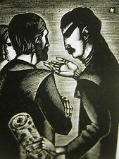 Lynd Ward 1930 TWO MEN and a WOMAN TALKING UNDER the STARS Art Deco Print Matted