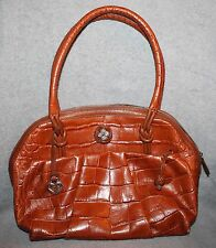 VERY NICE BRIGHTON BROWN CROC LEATHER HANDBAG  PURSE E615184