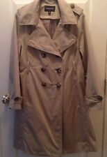 Womens LONDON FOG  Double Breasted Trench Coat Jacket Tan Plaid SZ14 FREE Ship