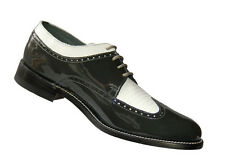 Stacy Baldwin Wingtip Oxford Grey and White Patent Leather Tuxedo Shoes