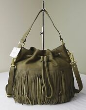 Fossil Canteen Olive Jules Fringe Large Drawstring Bucket Shoulder Crossbody