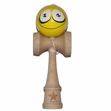 Yellow Face Super Kendama, Super Sticky, Japanese Wooden Toy, USA Seller