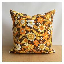"Vintage  60s 70s Orange Psychedelic Fabric Cushion Cover VW 16"" x 16"""