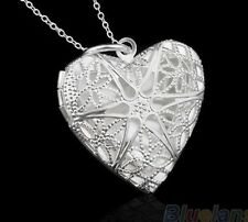 925 Sterling Silver Heart LOCKET Photo Charm Pendant Necklace Link Chain Gift