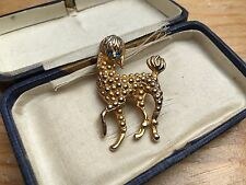Vintage Dainty Poodle Dog Brooch/Gold Tone & Rhinestone Set/Retro/Kitsch/Cute