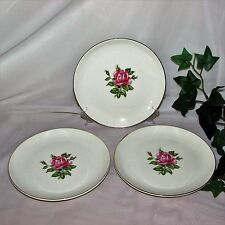 DOMINION CHINA ROSE BOWER BREAD CAKE PLATES LOT 3 22K GOLD 74-60 PINK CANDA