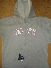 WOMENS U.S. NAVY HOODIE HOODY MILITARY ZIP SWEATSHIRT COTTON BLEND GRAY L