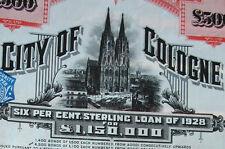 City of Cologne Lstg 500 bond 1928 Köln histor. Anleihe OB Adenauer Kölner Dom