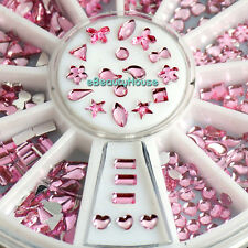 12 Styles Pink Acrylic Nail Art Mixed Decoration Rhinestones Slices + Wheel #099