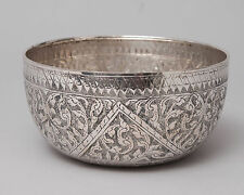 Antique Siamese/Thai Silver Bowl Kanok Pattern with Chinese Marks c1900