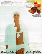 PUBLICITE ADVERTISING 044  1975   CHARLES OF THE RITZ  cosmétiques solaires