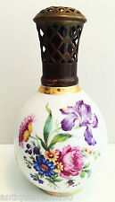 Ancienne lampe berger Camille Tharaud Limoges, porcelaine iris fleurs