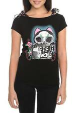 TOO FAST GOTHIC SUGAR SKULL CAT KITTY EMO PSYCHOBILLY ROCKABILLY TOP SHIRT L