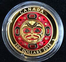 99.999% Pure Gold Enameled Coin – Singing Moon Mask – Mintage: 300 (2015)