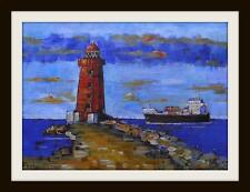 Poolbeg Lighthouse Dublin   Original Marine Oil Painting by Kevin Corroue (A4)