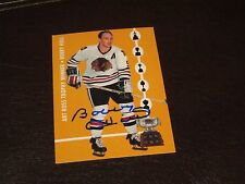 BOBBY HULL AUTOGRAPHED 1965/66 PARKHURST REPRINT CARD-BLACK HAWKS-ART ROSS WIN